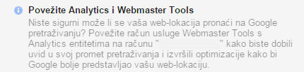Povežite Analytics i Webmaster tools