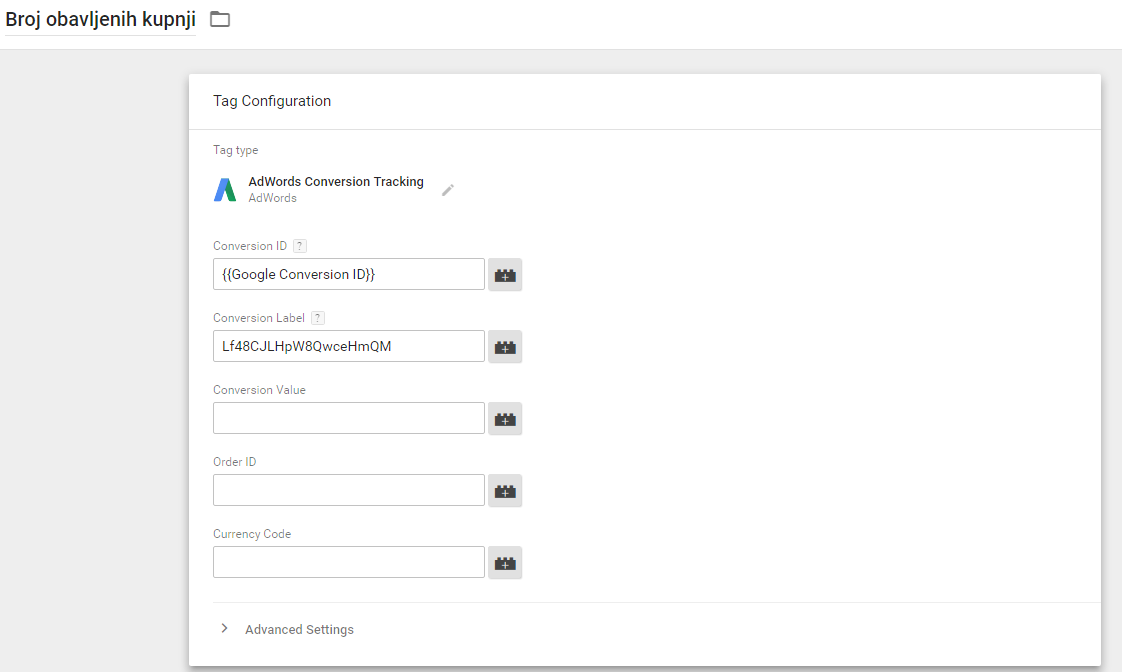 Google Tag Manager - kreiranje tag cilja
