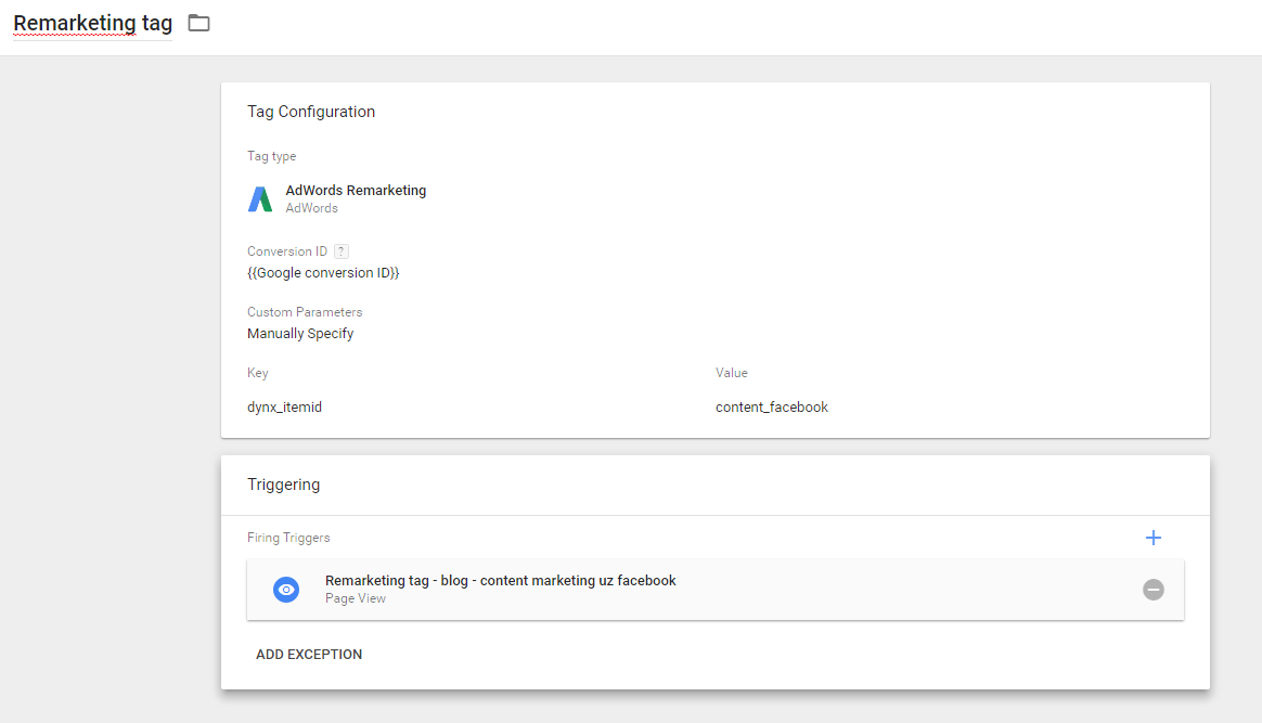 Google Tag Manager - remarketing tag with trigger