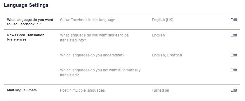 jezične postavke u facebooku