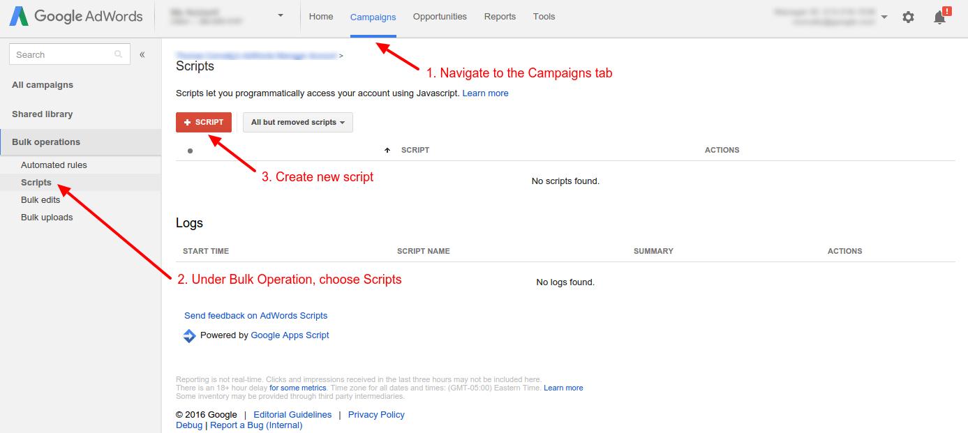 Google AdWords skripte - kako kreirati novu skriptu