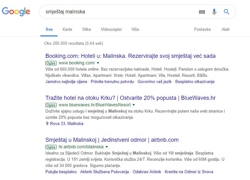 Smještaj malinska - Google oglas