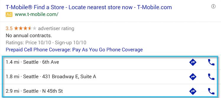 Google Ads ekstenzije - Proširenje za pozive i lokacije
