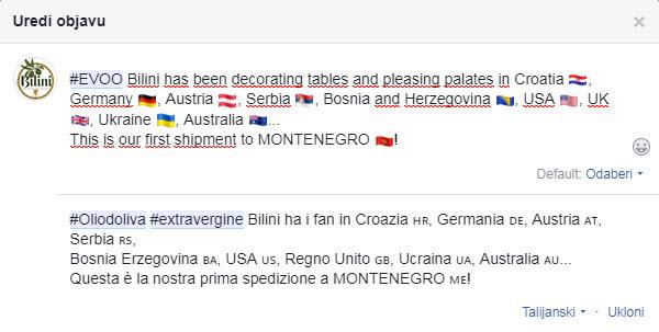 editiranje emojia u višejezičnoj objavi