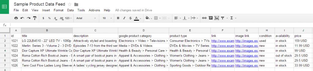 Google data Feed tablica